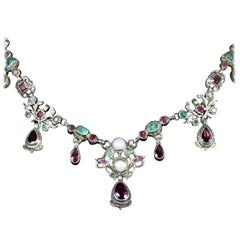 Georgian Renaissance Emerald Ruby Garnet Necklace, circa 1750