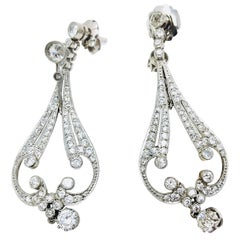 Diamond and Pearl Drop Earrings Platinum