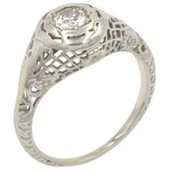 GIA Certified 0.28 Carat Old European Cut Diamond and 18 Karat Gold Ring