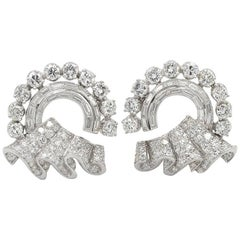 1950s Circular Ribbon and Platinum Earrings with 8 Carat of Diamonds
