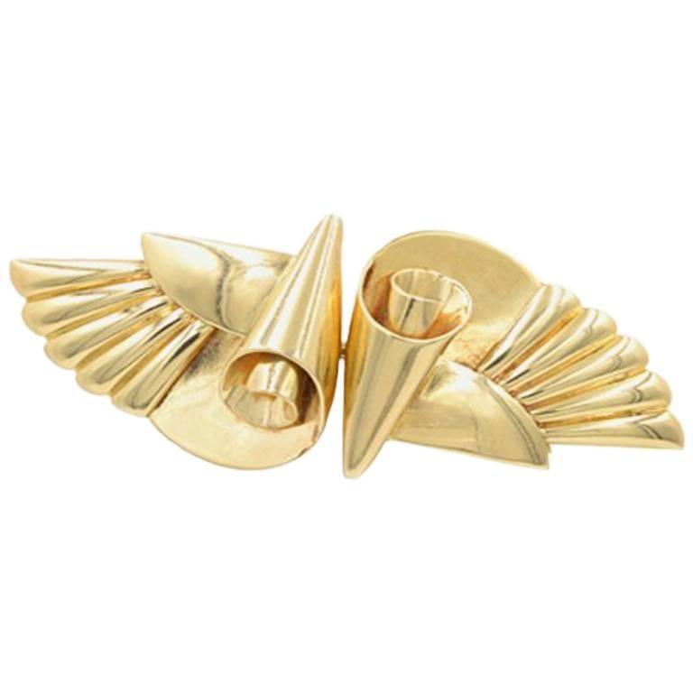 Krementz 14 Karat Gold Retro Double Clip Wing Brooch