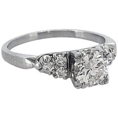 .83 Carat Diamond Antique Engagement Ring 18 Karat White Gold