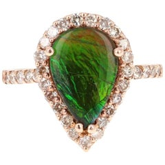 2.12 Carat Ammolite Diamond Rose Gold Ring