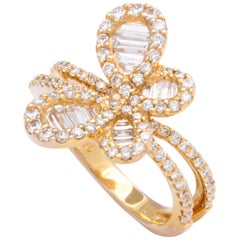 18 Karat Rose Gold and Diamond Butterfly Fashion and Cocktail Ring