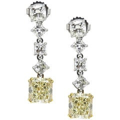 4.22 Carat Yellow Diamond Two-Toned Drop Earrings