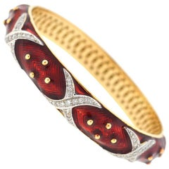 14 Karat Yellow Gold Red Enamel and Diamonds Bangle Bracelet