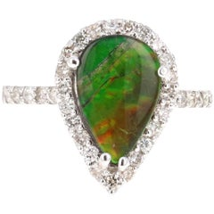 2.32 Carat Ammolite Diamond White Gold Ring