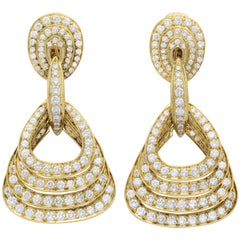 Graduating Quadruple Diamond and 18 Karat Yellow Gold Pendant Earrings