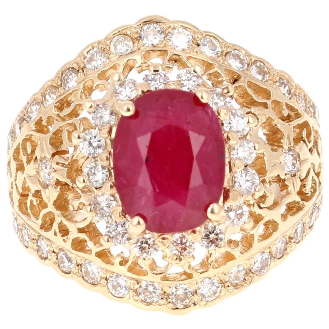 3.61 Carat Ruby Diamond Art Deco Style Yellow Gold Ring