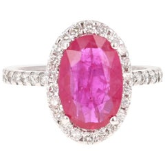 4.87 Carat Ruby Diamond White Gold Halo Ring