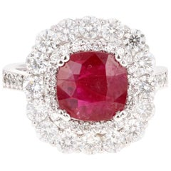 4.43 Carat Ruby Diamond White Gold Double Halo Ring
