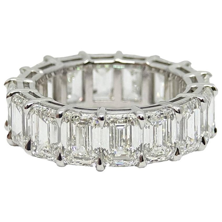 13.07 Carat Emerald Cut Diamond Eternity Platinum Band