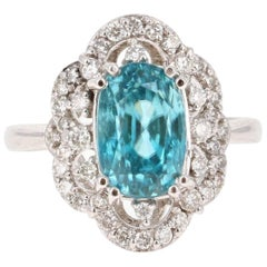 6.05 Carat Blue Zircon Diamond White Gold Ring