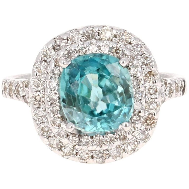 4.16 Carat Blue Zircon Diamond Double Halo 14K White Gold Ring For Sale