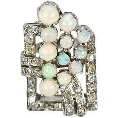 Platinum Deco Diamond Opal Circular Spray Geometric Ring