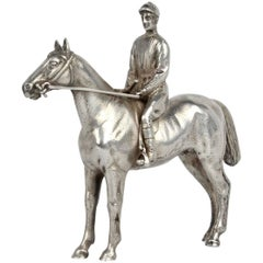 Finely Cast Silver Equestrian Horse Racing Sculpture