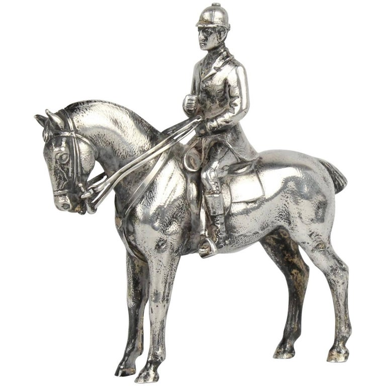 Finely Cast Silver Equestrian Dressage Sculpture