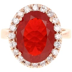 5.54 Carat Fire Opal Diamond 14 Karat Rose Gold Ring