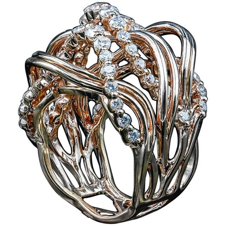 18 Karat Rose Gold 1.73 Carat Diamond Cocktail Ring