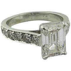 GIA Certified 3.01 Carat Emerald Cut Diamond Ring, E color, in Platinum