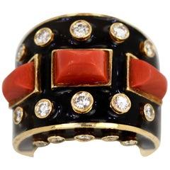 David Webb Orange Cabochon Coral Diamond Black Enamel 18K Platinum Gold Ring