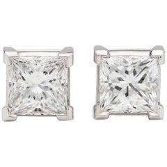 Spectacular F/VS1 Princess Cut Diamond Earrings