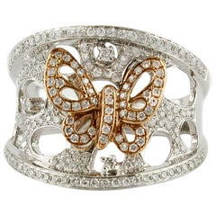 Diamonds White and Pink Gold Bow Ring