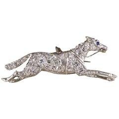 Vintage Sapphire Diamond Racing Horse Brooch in Platinum