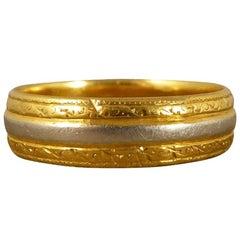 Vintage 22 Carat Gold and Platinum Wedding Band