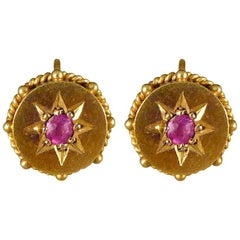 Late Victorian 15 Carat Yellow Gold Ruby Earrings