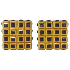 Tiffany & Co. circa 1950 Yellow Gold Sapphire Cufflinks