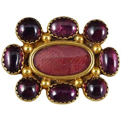 Victorian Garnet 15 Carat Yellow Gold Locket Brooch