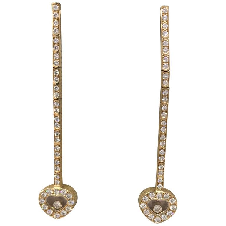 Chopard Happy Diamonds 18 Karat Yellow Gold Long Screw on Earrings with Hearts