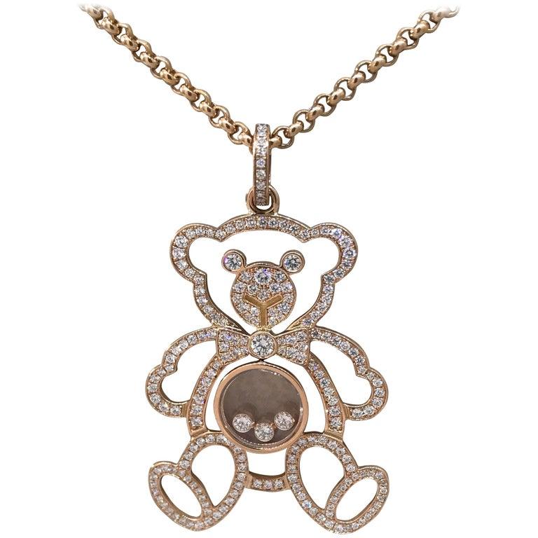 Chopard Happy Diamonds Rose Gold Teddy Bear Pendant / Necklace