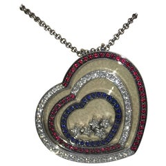 Chopard Happy Spirit White Gold Hearts Pendant with Rubies, Sapphires, Diamonds
