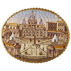 Antique Late 19th Century Vatican City Micro Mosaic Gold Brooch