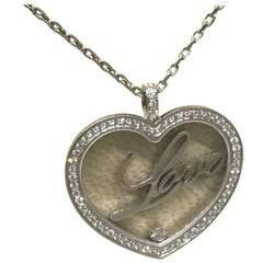 """Chopard Happy Diamonds White Gold Heart Pendant / Necklace with """"Love"""" 79/7616"""