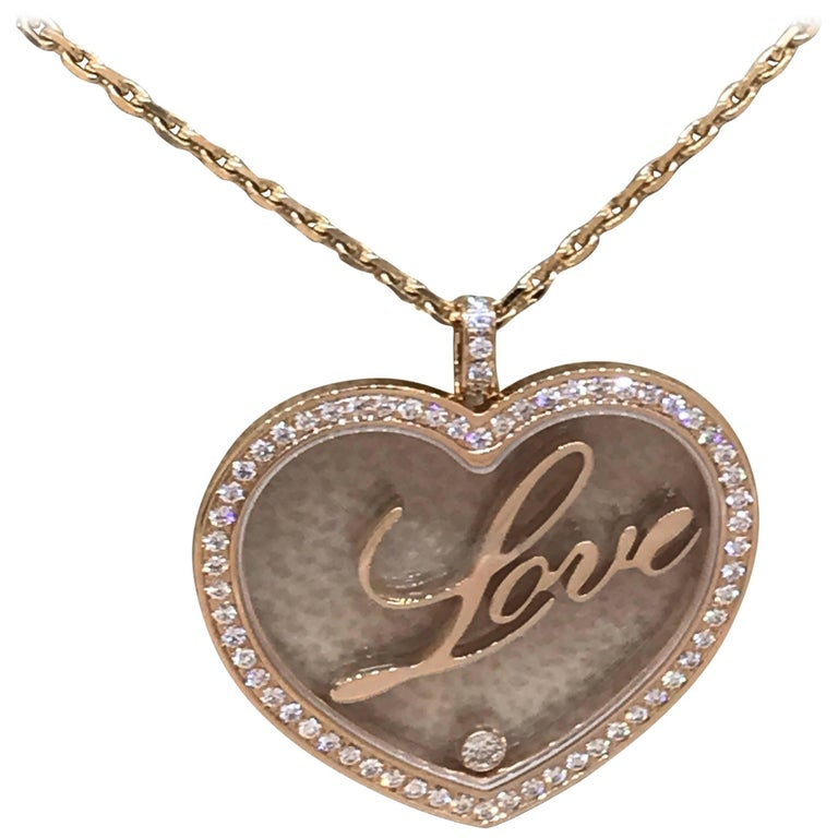"""Chopard Happy Diamonds Rose Gold Heart Pendant / Necklace with """"Love"""""""