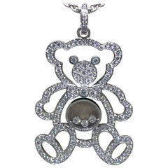 Chopard Happy Diamonds White Gold Teddy Bear Pendant / Necklace