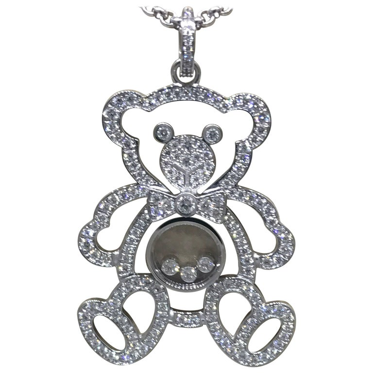 Chopard Happy Diamonds White Gold Teddy Bear Pendant / Necklace For Sale