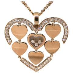 Chopard Amore Hearts 18 Karat Rose Gold and Diamonds Pendant or Necklace