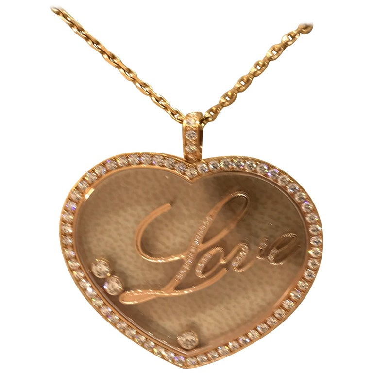 """Chopard Happy Diamonds Rose Gold Large Heart Pendant / Necklace with """"Love"""""""
