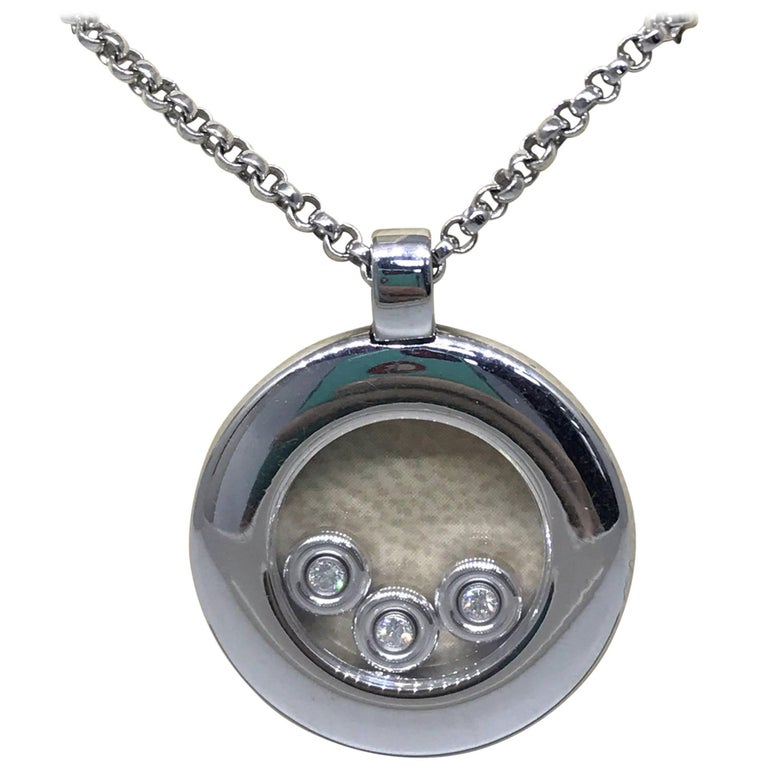 Chopard Happy Diamonds White Gold Round Circle Pendant / Necklace 79/7210