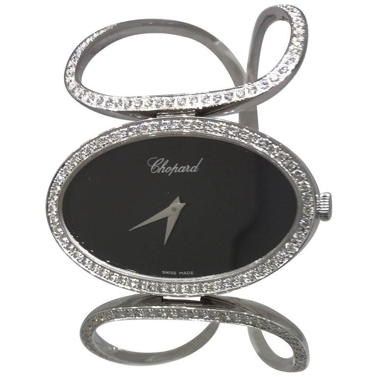 Chopard Classique White Gold and Diamond Oval Case Bracelet Bangle Lady's Watch