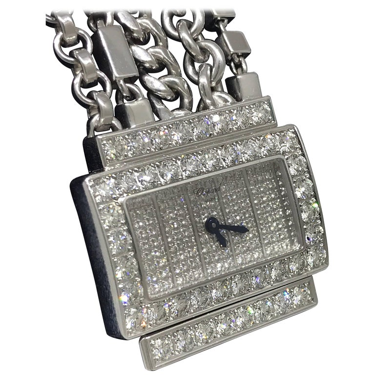 Chopard Classique 18 Karat White Gold Pave Diamond Chains Bracelet Ladies Watch