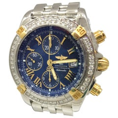 Breitling Chronomat Evolution Two-Tone Diamond Bezel Chronograph Men's Watch