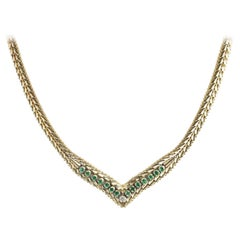 "1970s ""V"" Design Emerald and Diamond Gold Necklace"