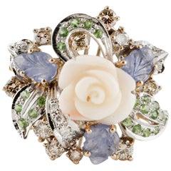 Sapphire Coral Tsavorite Diamond Yellow Gold Flower Ring