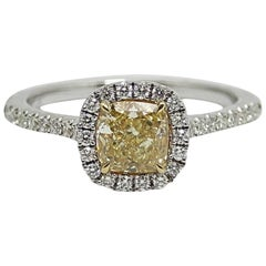 1.04 Carat Cushion Cut Yellow Diamond White Gold Ring