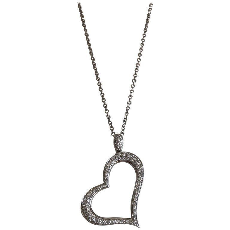 77f10bf8c Piaget Heart-Shaped 18 Karat White Gold Pendant Necklace with Diamonds For  Sale